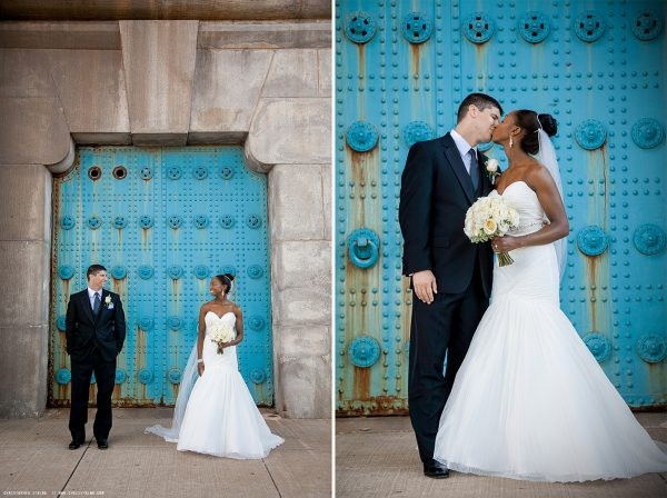 Bride and Groom on Bridge in Penn's Landing